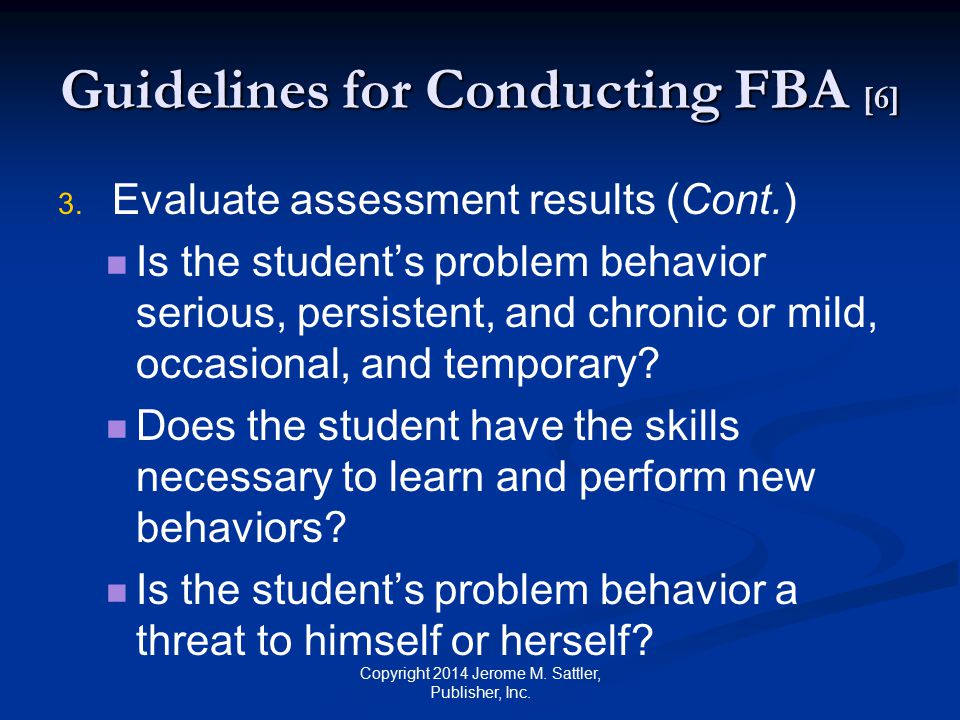 Guidelines for Conducting FBA [6]